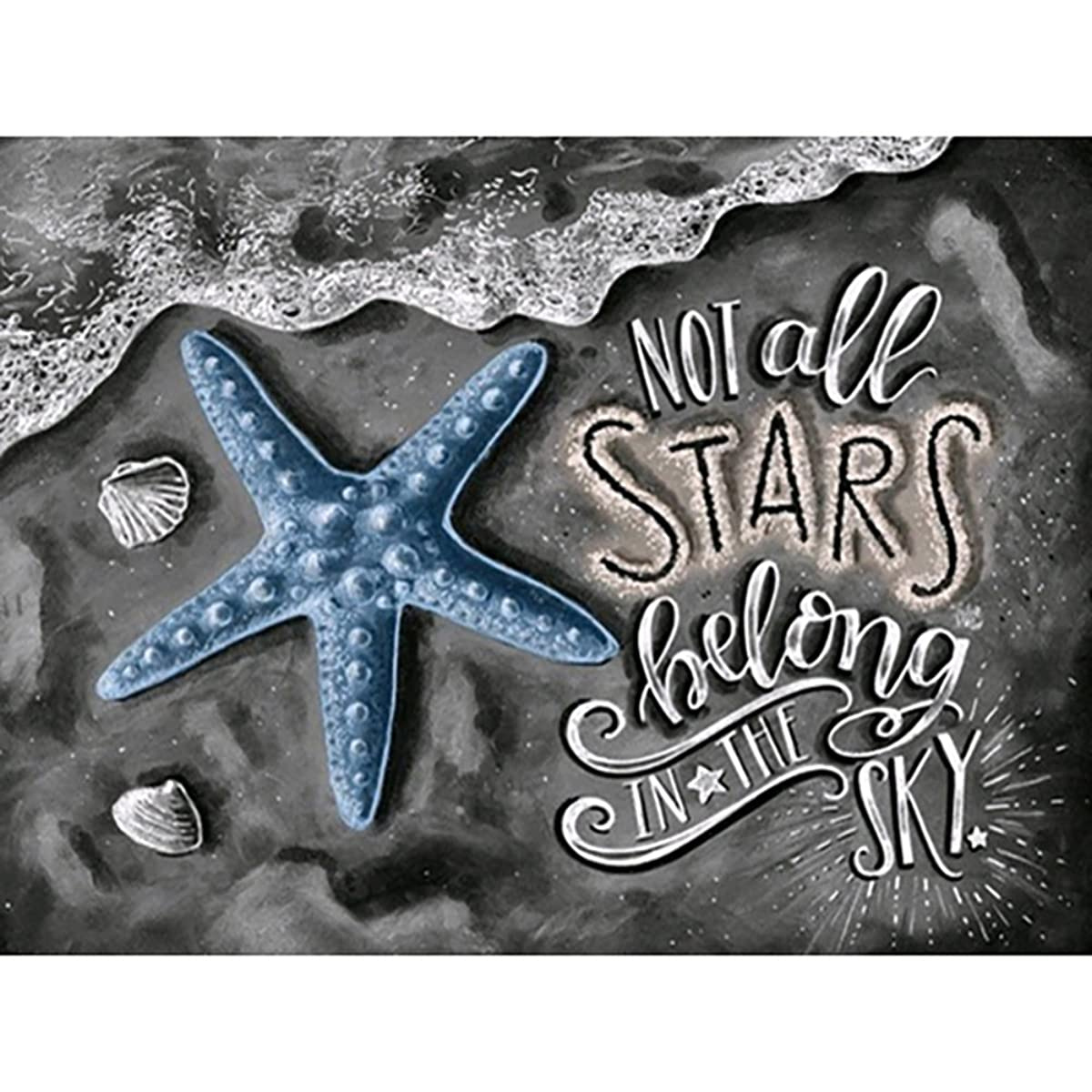 DIY 5D Diamond Painting by Number Kits, Crystal Rhinestone Embroidery Paint with Diamonds, Full Drill Canvas Art Picture for Home Wall Decor, Starfish, 9.84x7.87inch