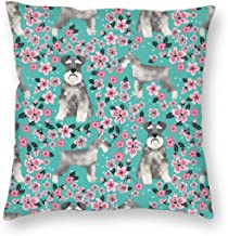 Pillowcases Schnauzer Dog Cherry Blossompring - Cute Dog Design - Turquoise for Sofa Bedroom livingroomTwo Sides Printing 18x18 inch