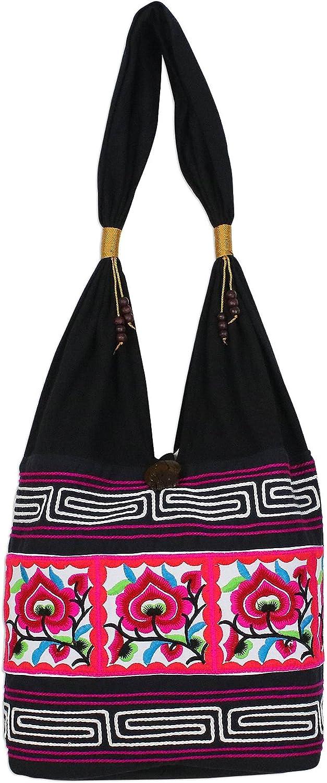 NOVICA Black Cotton Blend Shoulder Bag, Thai Flora'