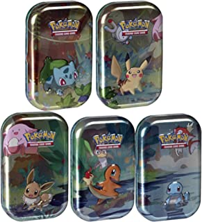 Pokemon Kanto Friends Mini Tin 5 Pack Bundle | Featuring Pikachu, Eevee, Charmander, Bulbasuar, Squirtle | Over 100 Cards Total