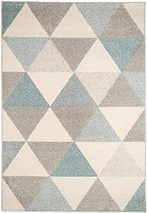 Benuta Alfombra Pastel Geomet | Moderna Alfombra para salón y Dormitorio, Fibra sintética, Turquesa, 140 x 200 cm