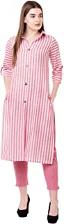NYPA Women's South Cotton Striped Print Straight Pink Kurti With Pant Set