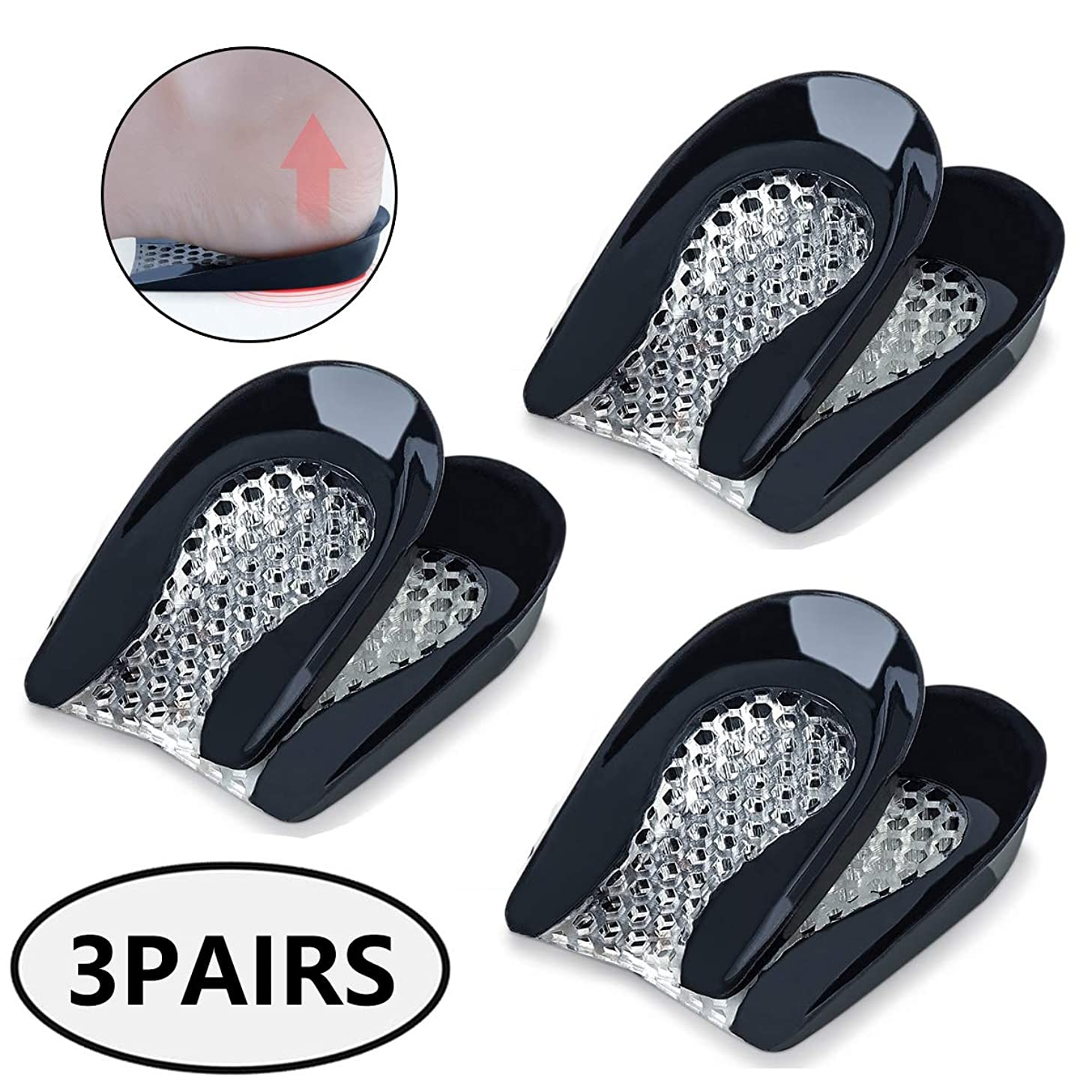 脚測定考慮整形外科靴の中敷の靴の挿入物-かかとの痛み、かかとのかかと、アキレス腱炎のかかとカップ-女性用かかとジェルパッド(3組)