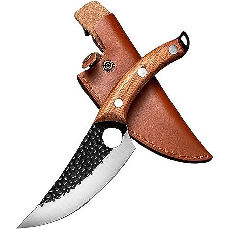 Couteau de Boucher Couteau à désosser forgé à la Main pour Couper Les Fruits et légumes Couteau de Boucher, adapté à la Cuisine à Domicile, au Restaurant, au Camping, au Barbecue (Couteau Viking)