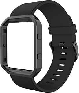 Simpeak Compatible for Fitbit Blaze Bands with Frame, Silicone Replacement Band Strap with Frame Case for Fit bit Blaze Smart Fitness Watch, Small/Large