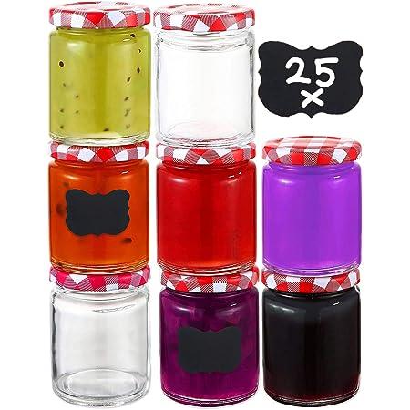 25 Pot de Confiture en Verre 230 ML avec Couvercle, Etiquettes - Bocaux de Conserve Hermétiques a Confitures