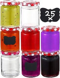 Praknu 25 Pot de Confiture en Verre 230 ml avec Couvercle, Etiquettes - Bocaux de Conserve Hermétiques a Confitures