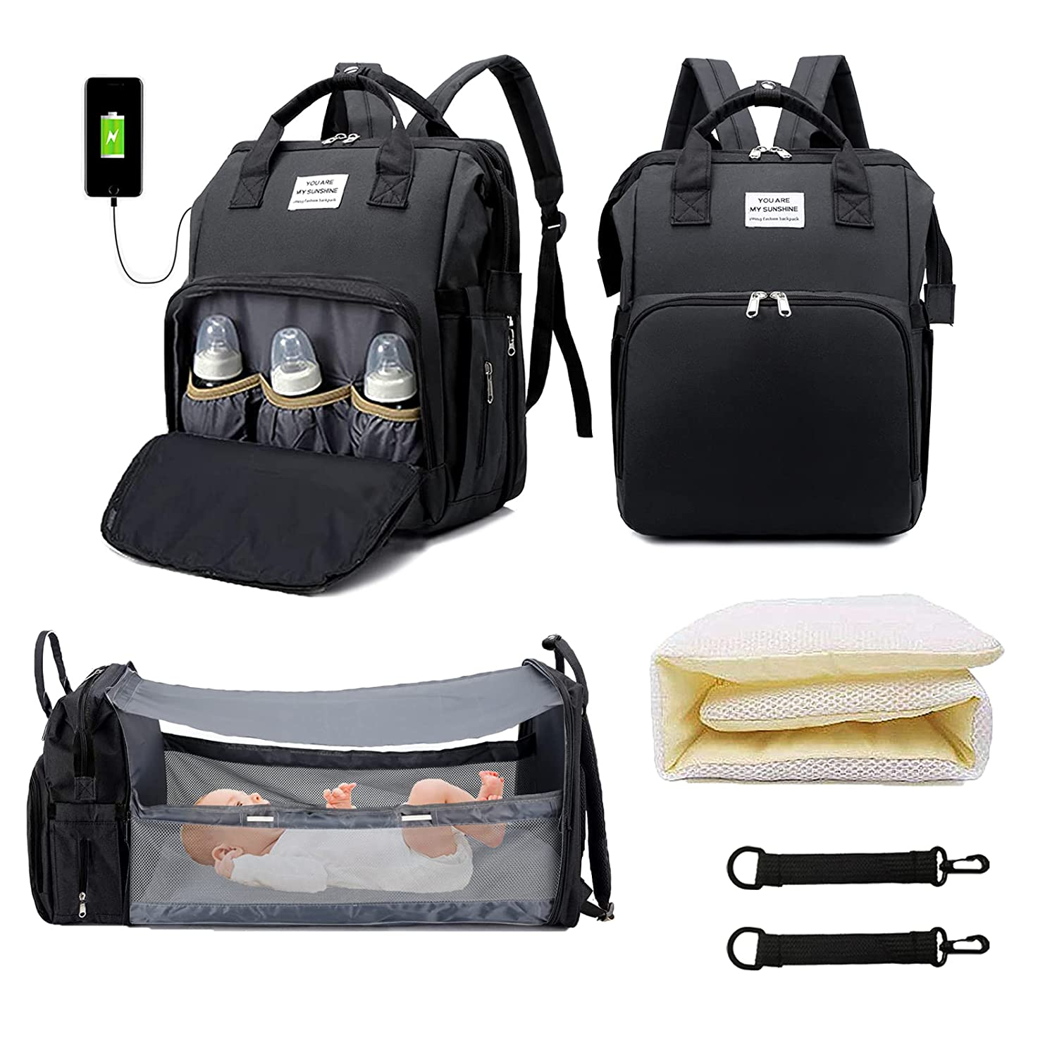 KEEPAA Baby Diaper Bag Backpack 3 in 1, Diaper Bag for Boys Girls, Portable Multifunction Waterproof Travel Back Pack with Stroller Hook, Large Capacity Travel Bags for Organizer