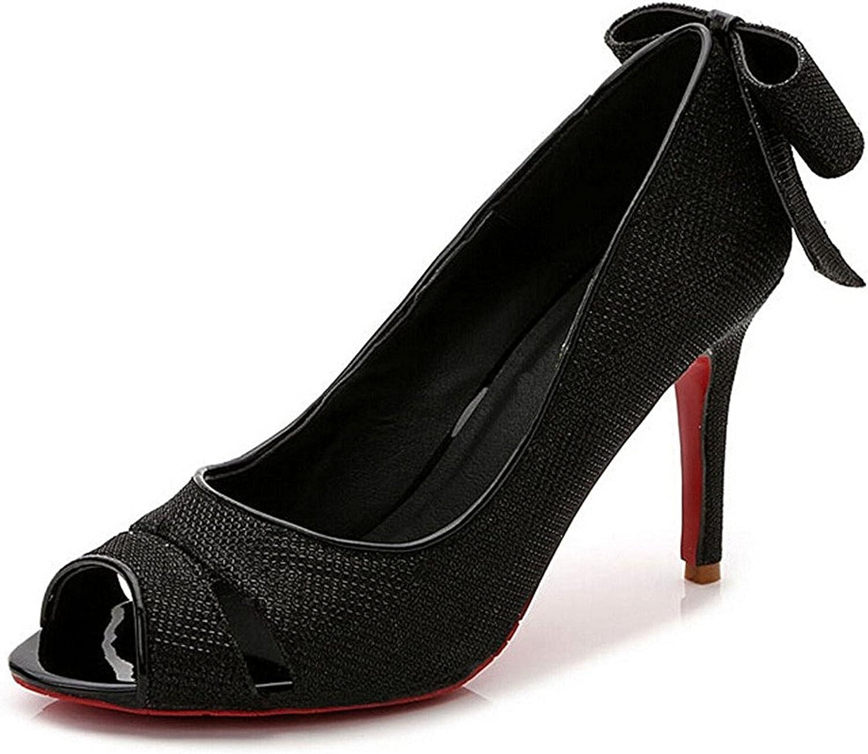 Colnsky Women's Bowknot Slip On Peep Toe Stiletto High Heel Sandals