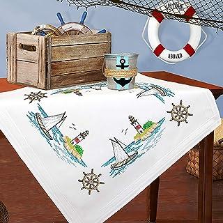Kamaca Stickpackung Tischdecke SEGELBOOT und Leuchtturm Kreuzstich vorgezeichnet aus Baumwolle zum Selbersticken Mitteldecke 80x80 cm