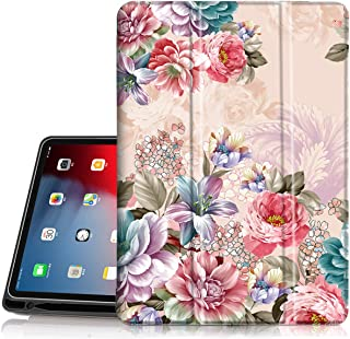 Hocase iPad Pro 12.9 3rd Generation 2018 Case, Trifold Folio Smart Stand Case with Pencil Holder, Auto Sleep/Wake Feature, Soft TPU Back Cover for iPad A1876/A1895/A2014 - Peony Flowers