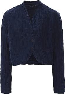 Grizas Women's Linen & Silk Cropped Jacket Navy