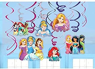 Disney Princess Dream Big Party Foil Hanging Swirl Decorations / Spiral Ornaments (12 PCS)- Party Supply, Party Decorations