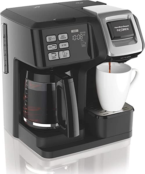 Hamilton Beach 49976 FlexBrew Coffee Maker Single Serve Full Coffee Pot Compatible With Single Serve Pods Or Ground Coffee Programmable Black