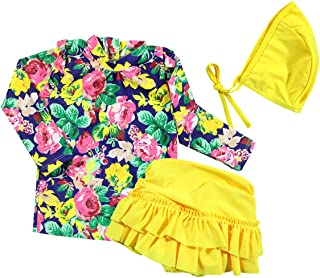 17be5012c1 Baby Girls Three Pieces Floral Sun Protection Swimsuit Bikini Set