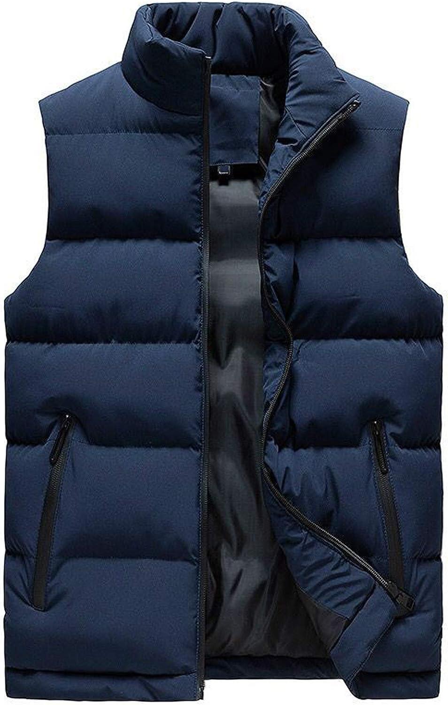 7789 Cotton Padded Vest Mens Winter Stand Collar Full Zip Up Sleeveless Coat Zipper Pockets Jacket Thick Warm