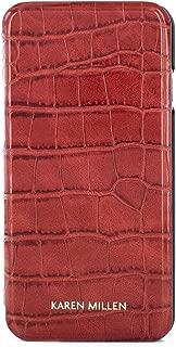 Karen Millen Fashion Premium Quality Folio Case with Card Slot for iPhone 8/7 – Red Croc