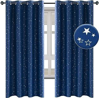 NAPEARL Rideaux thermiques pour chambre d'enfant garçon - Belle étoile - Avec œillets - 2 pièces - Bleu foncé - Pour chamb...