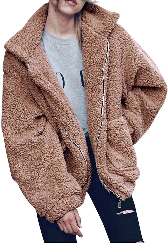 Hefu Womens Fuzzy Fleece Sherpa Coat Zip Up Jackets Warm Winter Faux Shearling Outerwear Shaggy Boyfriend Coats with Pocket
