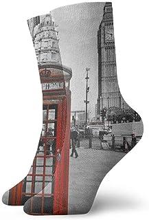 BEDKKJY, Calcetines de tripulación Cabina telefónica de Londres Vestido Personalizado Personalizado para Mujer Calcetín de Fiesta de Media Liquidación para niños