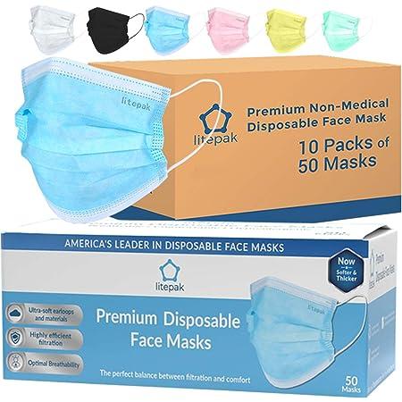 Litepak Premium Disposable Face Masks (500 Masks (10 Boxes), Blue)