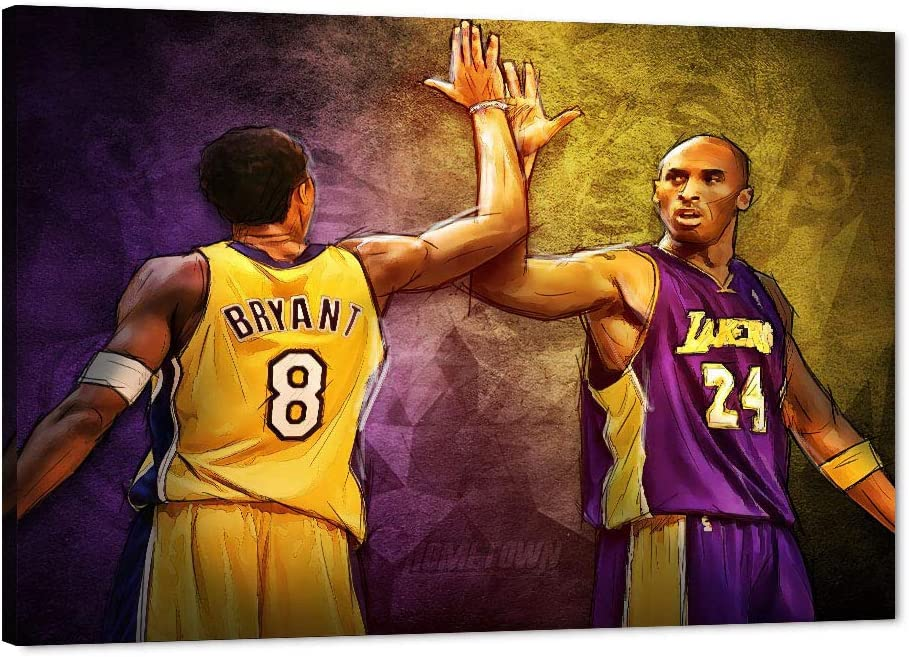 Kobe Canvas Wall Art LA Lakers Bryant Forever Legend #8#24 Picture, 8 and #24 High-Five Framed Artwork for Home Wall Decor, Black Manba Bryant Canvas ...