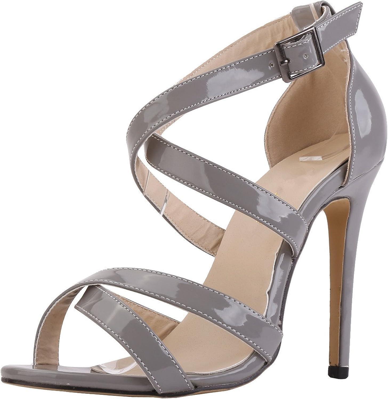 SAMSAY Women's High Heels Cross Strap Open Toe Sandals Summer Dress shoes