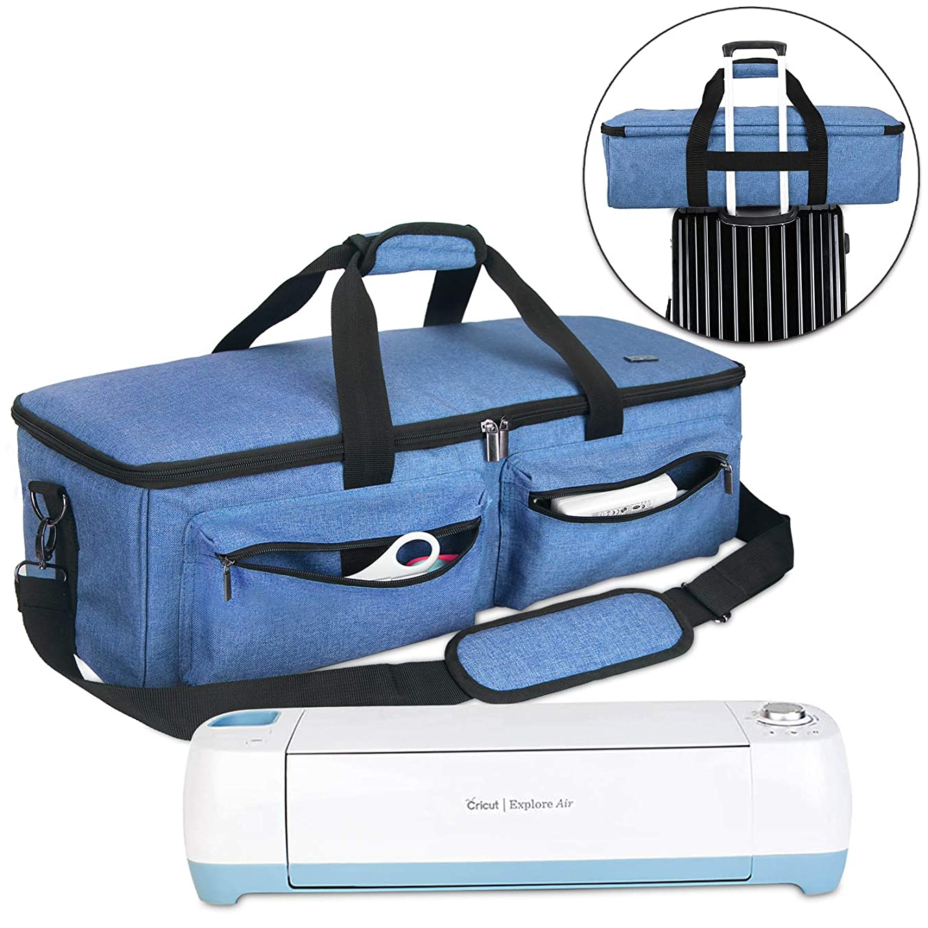 Luxja Carrying Bag Compatible with Cricut Explore Air and Maker, Tote Bag Compatible with Cricut Explore Air and Supplies (Bag Only, Patent Pending), Blue