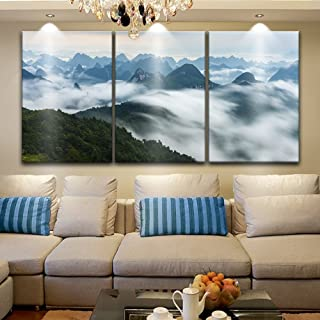 wall26 3 Panel Canvas Wall Art - Landscape of Mountains Among The Clouds - Giclee Print Gallery Wrap Modern Home Decor Ready to Hang - 16