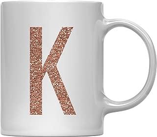 Andaz Press 11oz. Coffee Mug Gift, Rose Gold Faux Glitter, Monogram Letter K, 1-Pack, Friend Girlfriend Wife Teacher Graduation Colored Birthday Christmas Gift Ideas Decorations