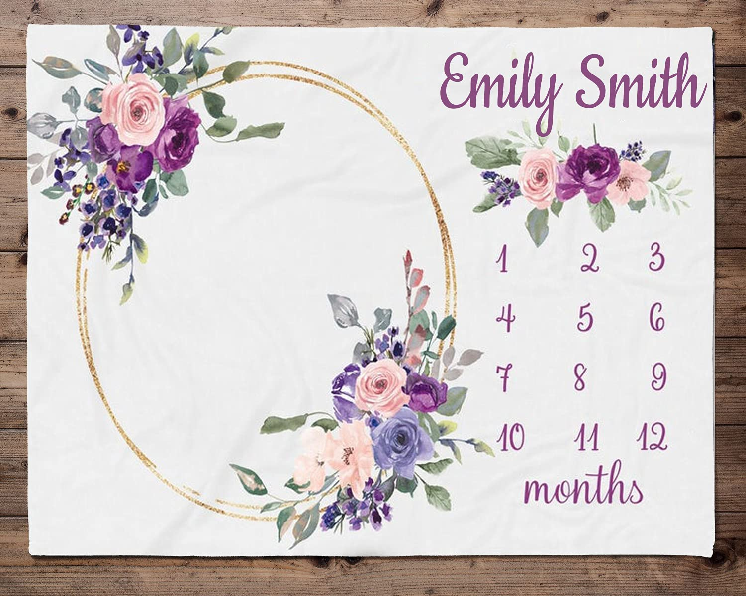 Purple Floral Milestone Blanket Girl - Popular brand in the world Month Great interest Blanket-Personalize