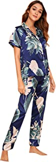 SheIn Women's Tropical Print Short Sleeve Satin Shirt with Pants Pajama Set