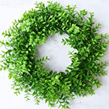"HEBE 18"" Artificial Green Leaves Wreath for Front Door Greenery Boxwood Wreath Outdoor Welcome Front Door Wreath for Summer/Fall Wedding Wall Window Party Backdrop Décor"