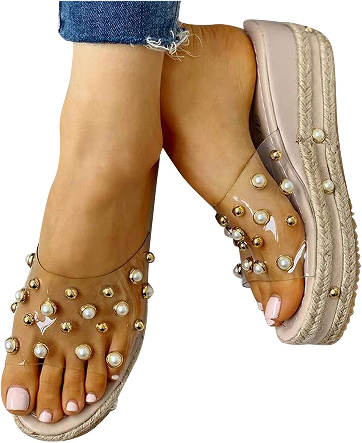 Aniwood Sandals for Women Casual Summer Slip On Open Toe Pearl Wedge Roman Shoes Casual Beach Gladiator Sandals