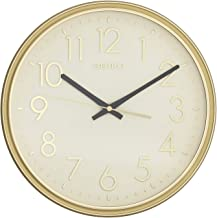Seiko Ivory Dial Gold Round Plastic Wall Clock for Home Office Décor 12 * 12 Inches