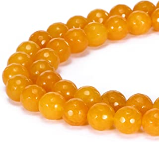 BRCbeads Gorgeous Natural Yellow Jade Gemstone Faceted Round Loose Beads 8mm Approxi 15.5 inch 45pcs 1 Strand per Bag for Jewelry Making