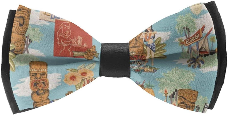 AMRANDOM Men and Boys Adjustable Bowties Formal Solid Bow Tie Novel Fun Pattern Woven Self Tie Bowties for Wedding Party Gift Idea (Tiki Aloha)