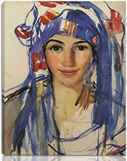Berkin Arts Zinaida Serebriakova Stretched Giclee Print On Canvas-Famous Paintings Fine Art Poster Reproduction Wall Decor-Ready to Hang(Self Portrait Wearing a Scarf)#NK