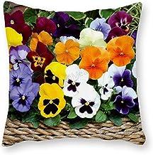 VinMea Funny Pillow Case, Decorative Landscape Pillow Cover, Pansies, Flowers, Bright, Basket Decor for Room Bedroom Car S...