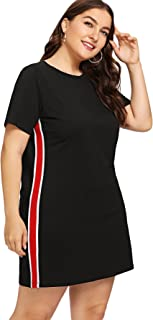 Milumia Plus Size Summer Color Block Cotton Casual Tunic Tops Short Sleeves Comfy Little Black Dress