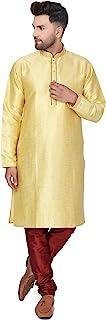 SKAVIJ Men's Jacquard Silk Kurta Pajama Set Indian Traditional Wear Dress