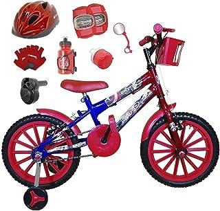 e708c92a9 Bicicleta Infantil Aro 16 Azul Vermelha Kit Vermelho C Capacete