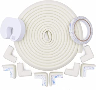 Store2508® Child Safety Strip Cushion 5metres (16.4 Feet) & 8 Pre Taped Corner Guards Cushion with Genuine 3M 9448A Tape for Baby Safety Child Proofing. (White)