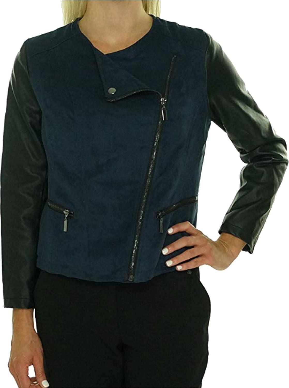 Alfani Women's Petite Faux Leather Suede Moto Jacket, Blue_Black, XS