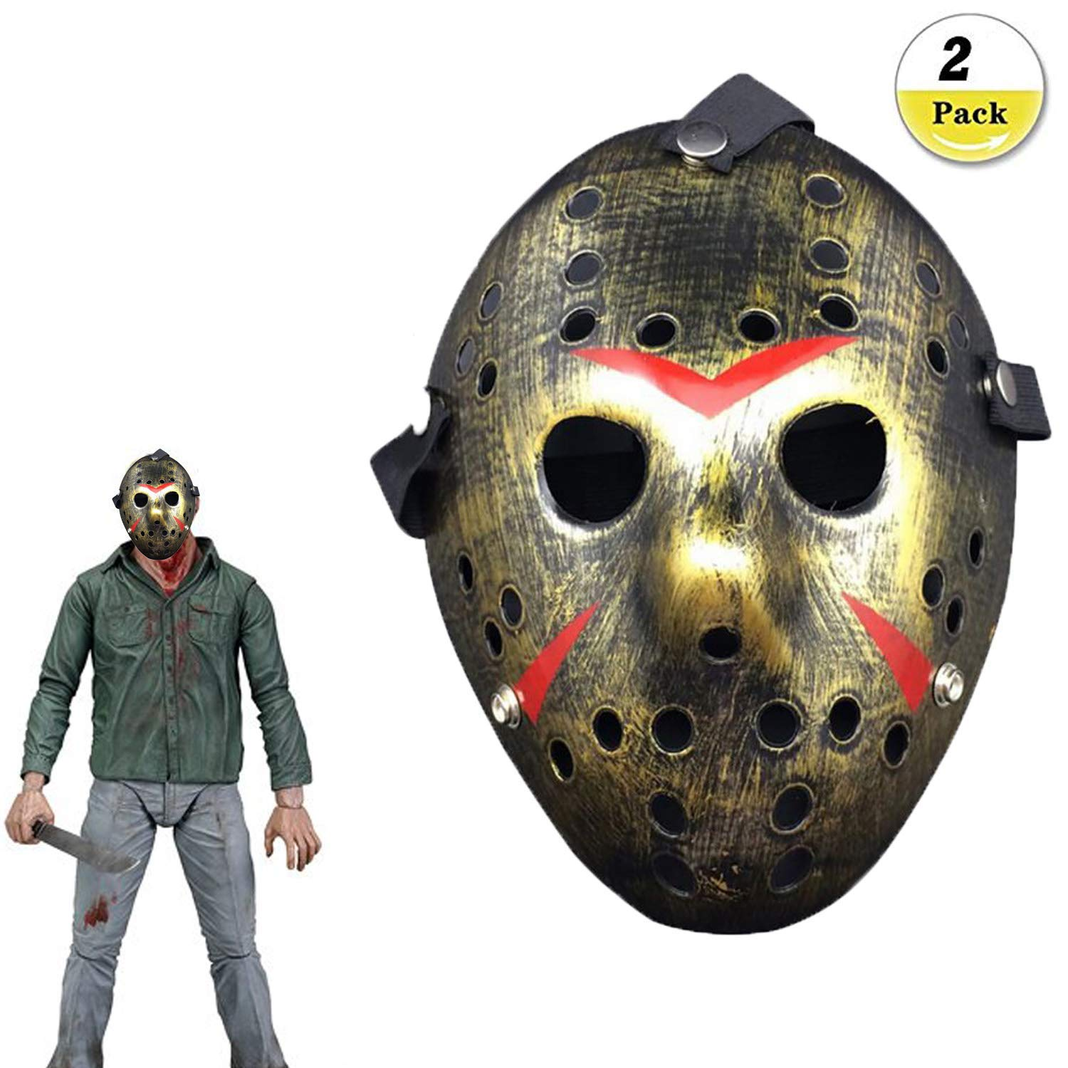 Buck Jason Voorhees Viernes 13 Horror Máscara De Hockey Jason Vs Freddie Scary Disfraz De Halloween Máscara Fiesta: Amazon.es: Hogar