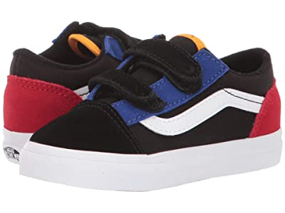 Vans Kids Old Skool V (Infant/Toddler) ((Color Block) Black/True White) Boy