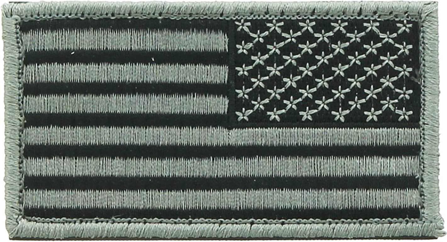 Reverse US American Flag Patch Foliage Green with Hook & Loop