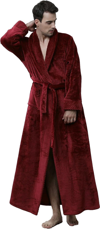 Men's Flannel Plus Size Thickened Coral Fleece Waistband Unisex Bathrobe Nightgown