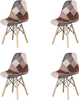 Uderkiny Juego de 4 sillas sillas de Comedor de Estilo Nórdico, Apto para Sala de Estar Comedor (Marrón02)
