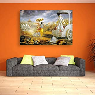 Inephos Unframed Canvas Painting - Beautiful Mahabharata Arjuna Art Wall Painting for Living Room, Bedroom, Office, Hotels, Drawing Room (36 inches X 24 inches)